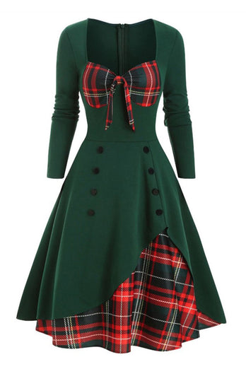 Plaid 1950s Dress with Long Sleeves