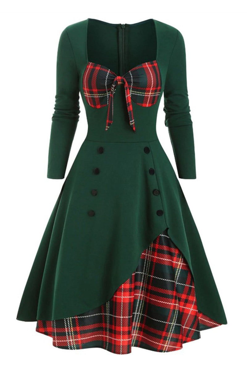Load image into Gallery viewer, Plaid 1950s Dress with Long Sleeves