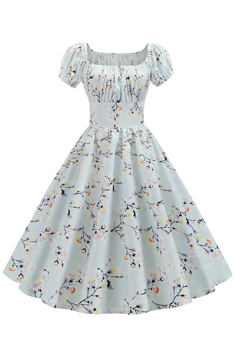 Load image into Gallery viewer, Puff Sleeves Printed Vintage Dress