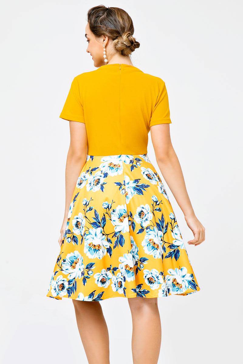 Load image into Gallery viewer, Orange Floral Print Casual Day Dress