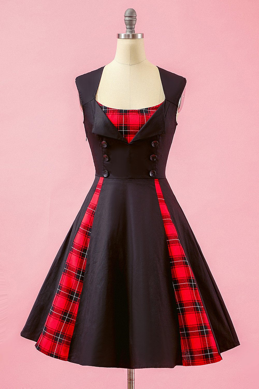 Black Patchwork Plaid V Neck Swing Party Dress