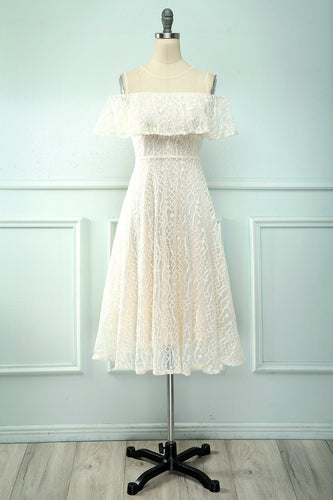 Ivory Midi Lace Cocktail Party Dress