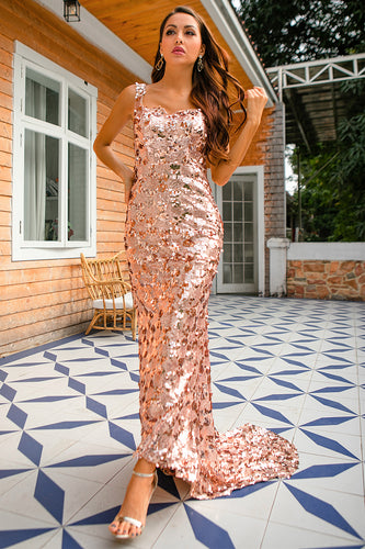 Champagne Sequins Prom Dress