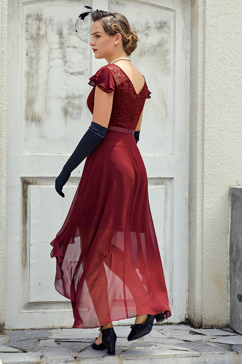 Load image into Gallery viewer, Illusion Neck Asymmetrical Dress