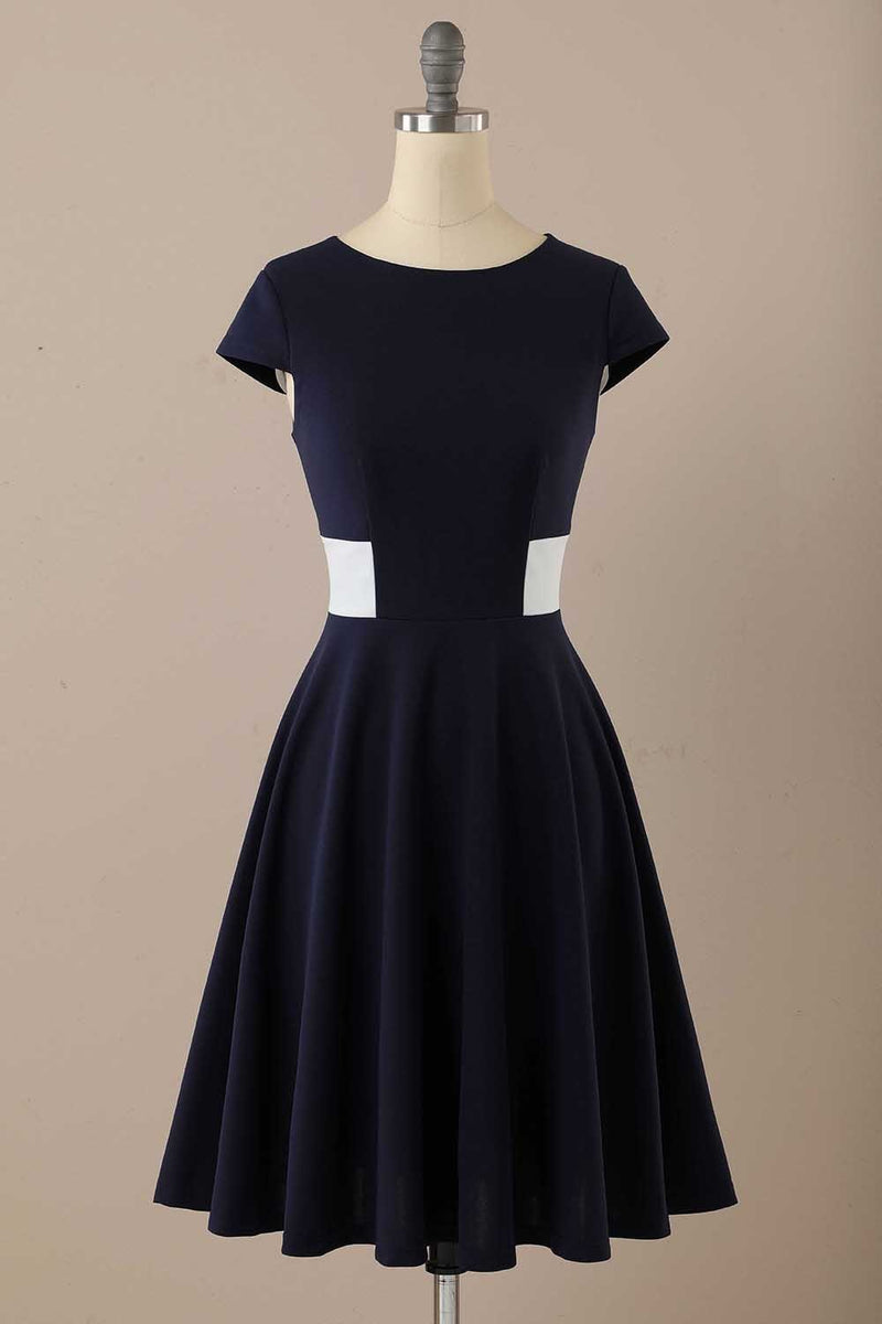 Load image into Gallery viewer, Navy Scoop 1950s Dress with Ruffles