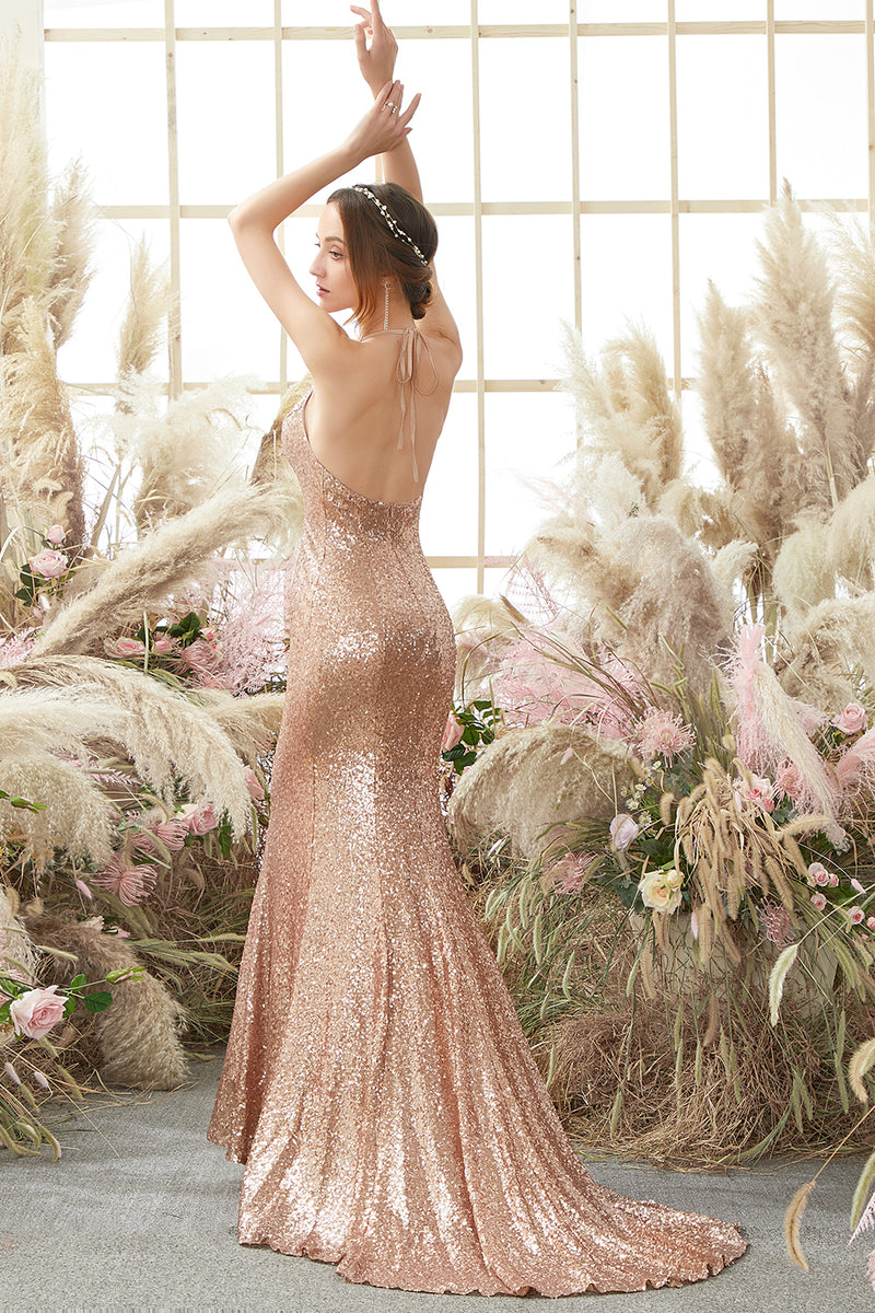 Load image into Gallery viewer, Pink Halter Sequins Prom Dress