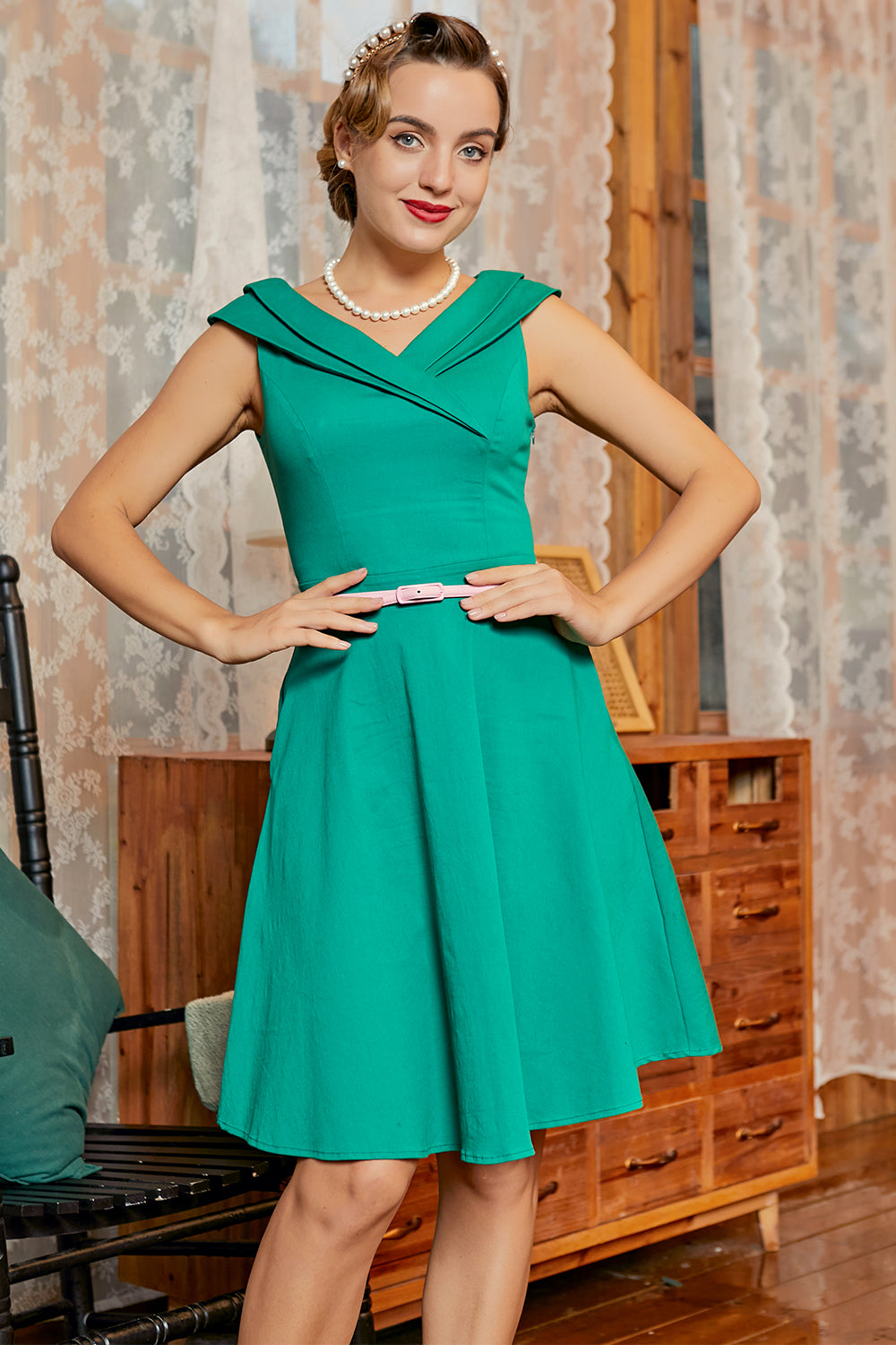 Green V Neck 50s Dress