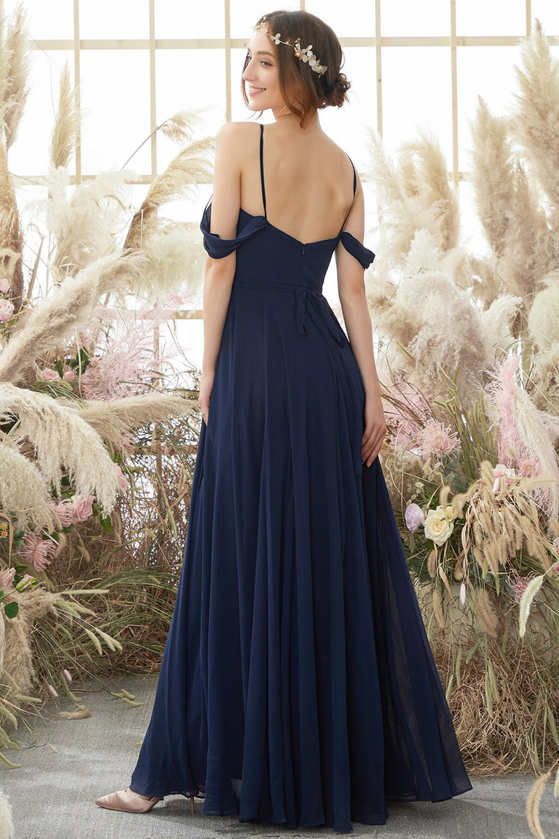 Load image into Gallery viewer, Elegant Spaghetti Straps Chiffon Bridesmaid Dress