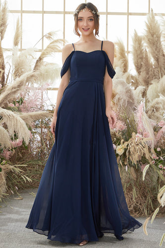 Elegant Spaghetti Straps Chiffon Bridesmaid Dress