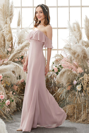 Elegant Off The Shoulder Chiffon Bridesmaid Dress