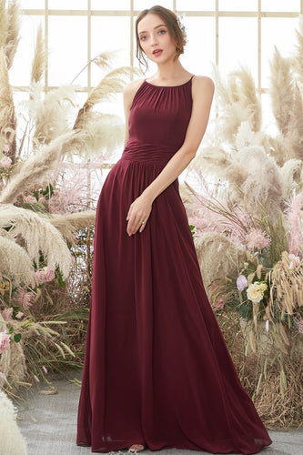 Elegant Burgundy Chiffon Bridesmaid Dress