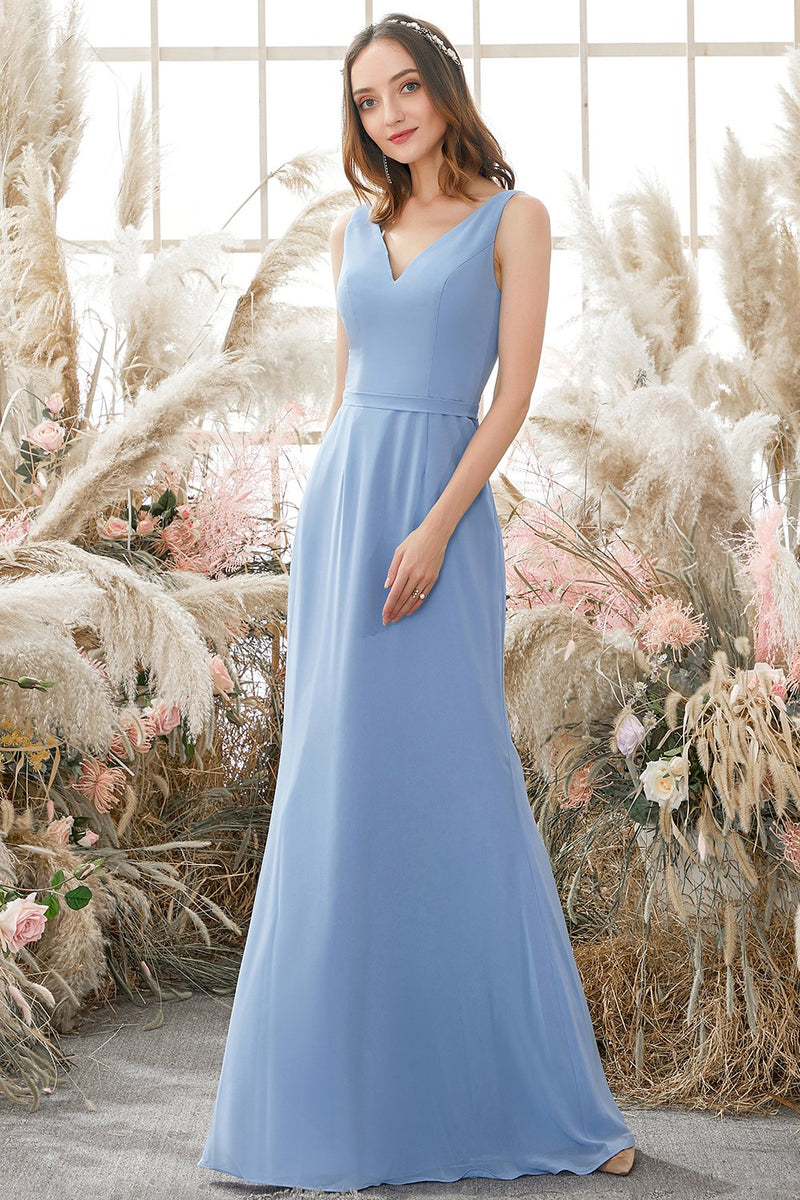 Load image into Gallery viewer, Blue V Neck Chiffon Bridesmaid Dress