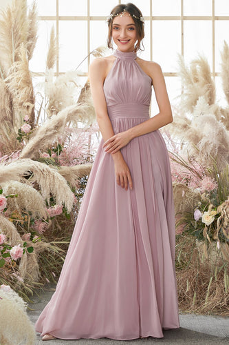 Halter Pleated Chiffon Bridesmaid Dress