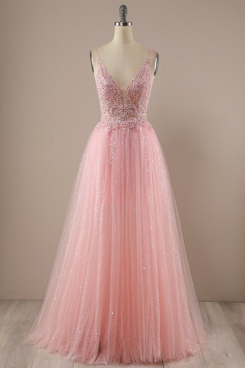 Load image into Gallery viewer, Pink Long Prom Party Dress