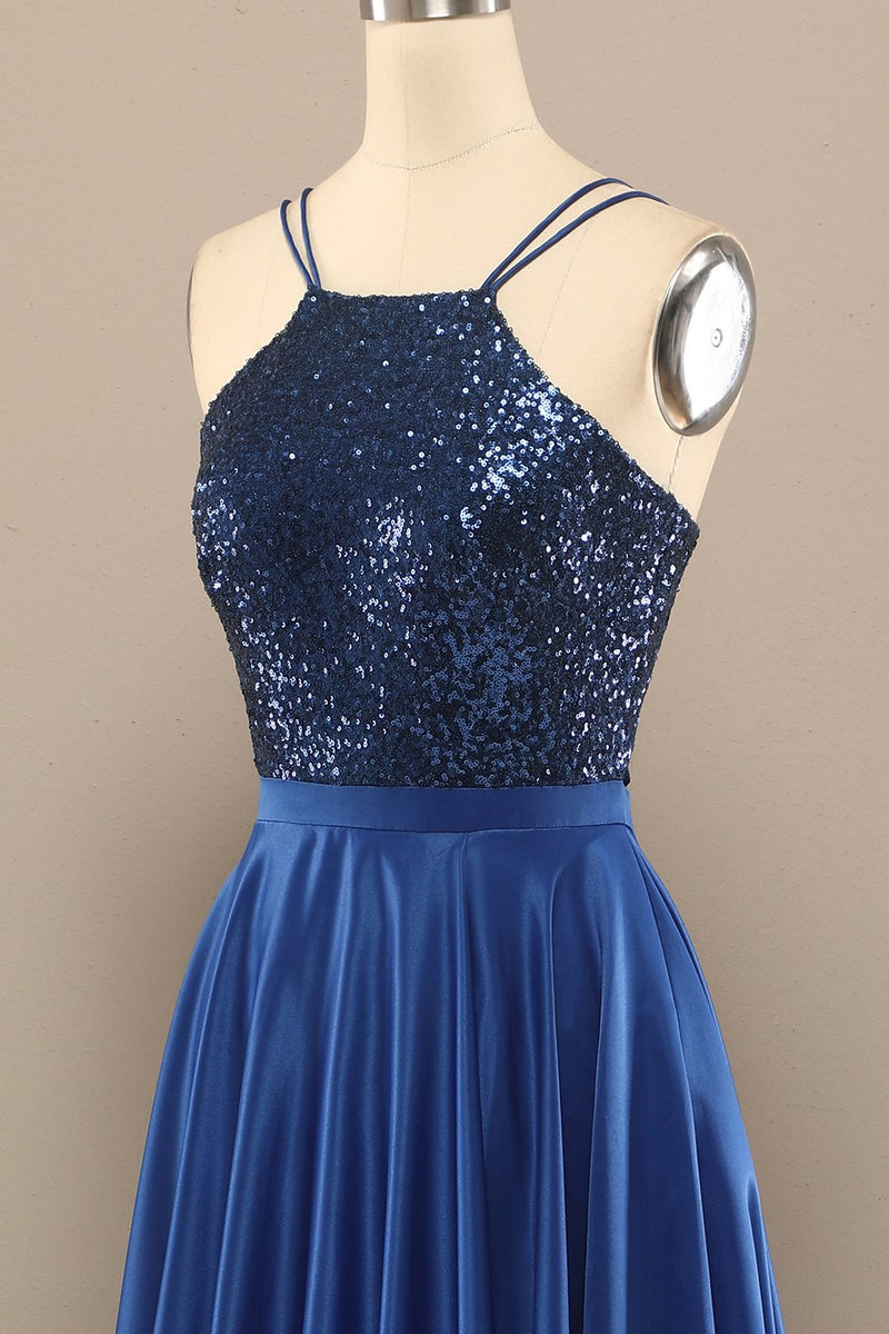 Load image into Gallery viewer, Royal Blue Open Back Long Prom Dress with Sequins