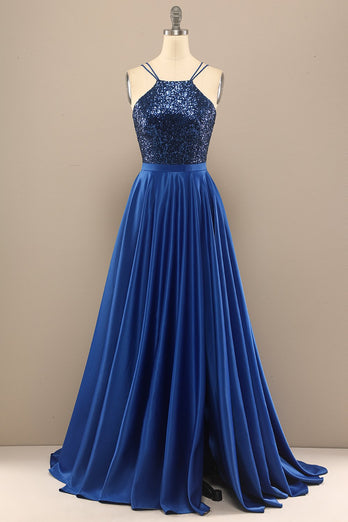 Royal Blue Open Back Long Prom Dress with Sequins