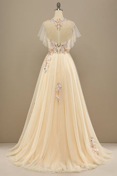 Yellow Long Formal Dress With Appliques