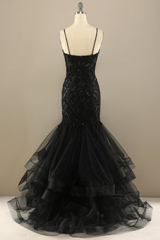 Mermaid Black Sequin Long Formal Dress
