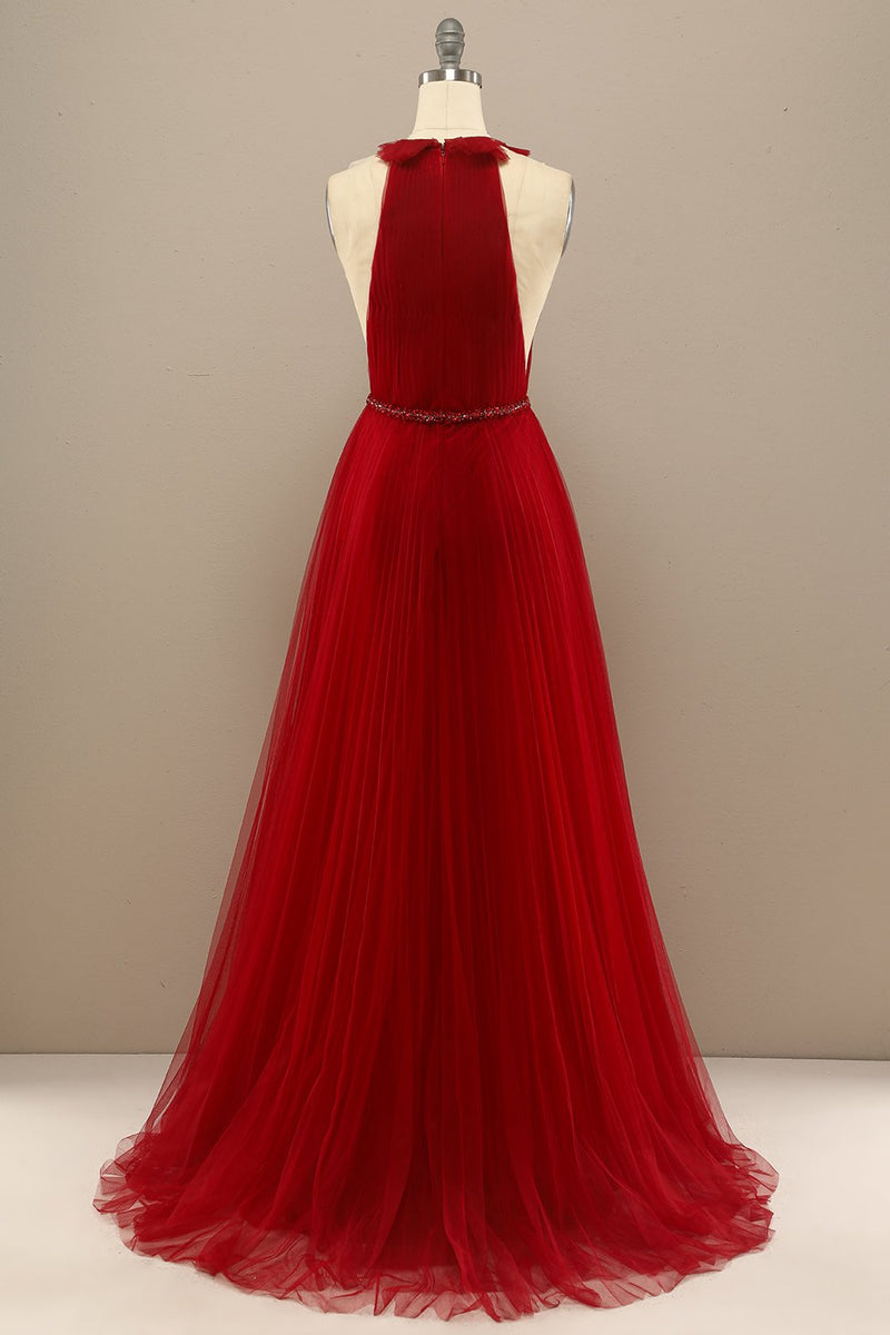 Load image into Gallery viewer, Red Pleated Long Chiffon Formal Dress