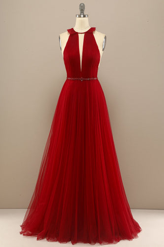 Red Pleated Long Chiffon Formal Dress