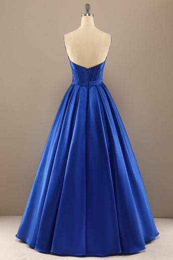 Simple Royal Blue Long Prom Dress