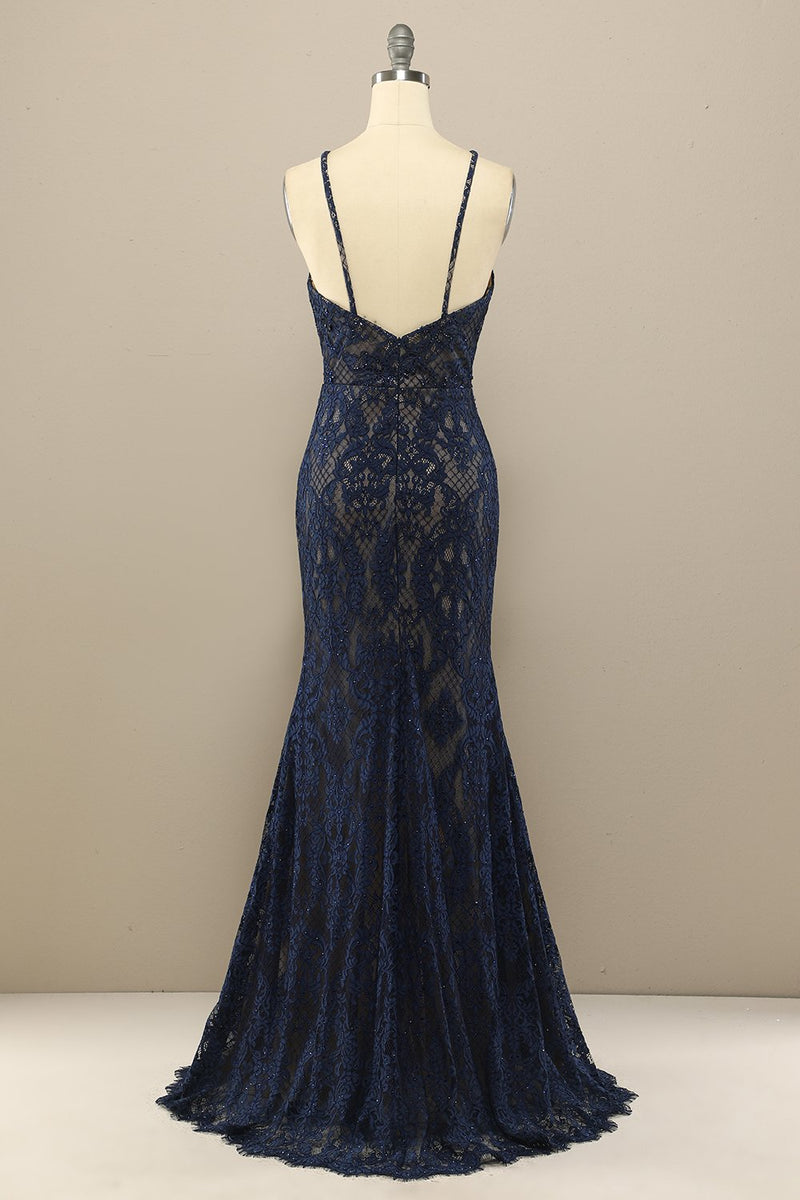 Load image into Gallery viewer, Navy Mermaid Lace Long Prom Dress