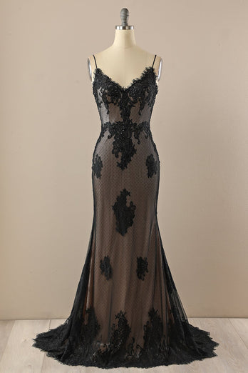 Black V neck Beaded Prom Dress
