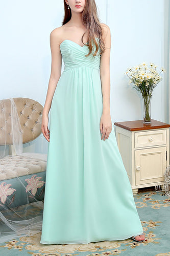 Sweetheart Long Chiffon Bridesmaid Dress With Ruffle