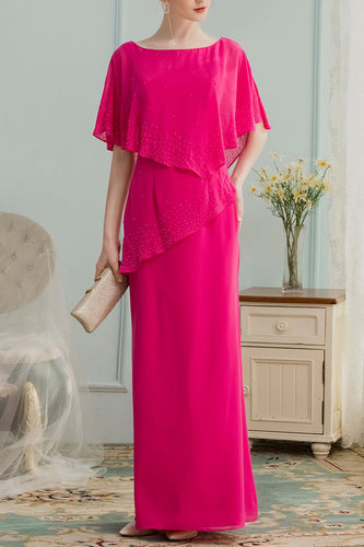 A-line Long Chiffon Mother Dress With Beading