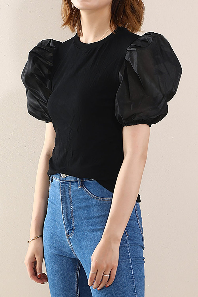 Load image into Gallery viewer, Black Puff Sleeves Tops