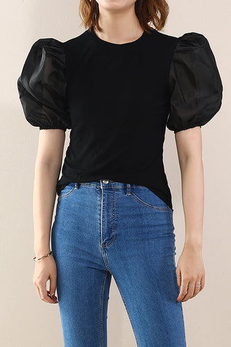 Black Puff Sleeves Tops