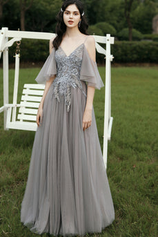 Grey Appliques Prom Dress