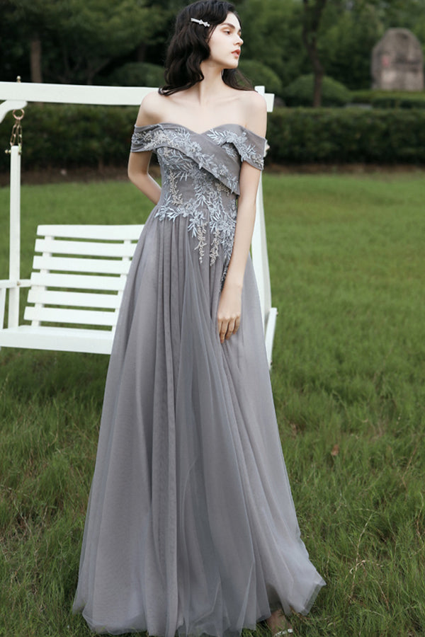 Load image into Gallery viewer, Grey Off Shoulder Prom Dress