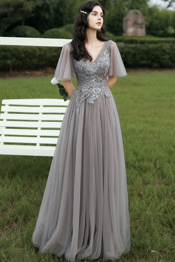 Load image into Gallery viewer, Grey V Neck Prom Dress
