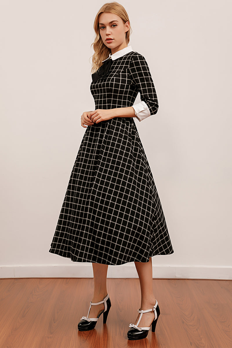 Load image into Gallery viewer, Vintage Black Plaid Midi Swing Dress