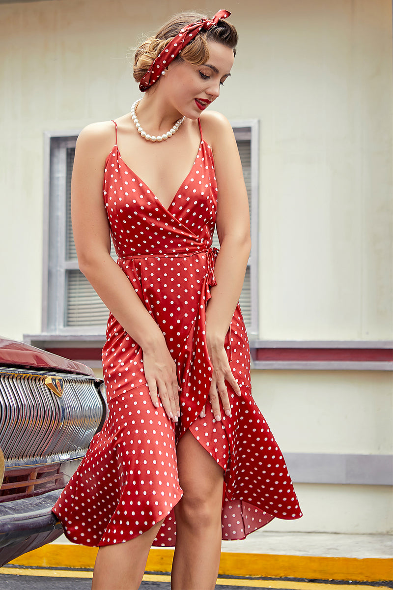 Load image into Gallery viewer, Red White Polka Dots Asymmetrical Dress