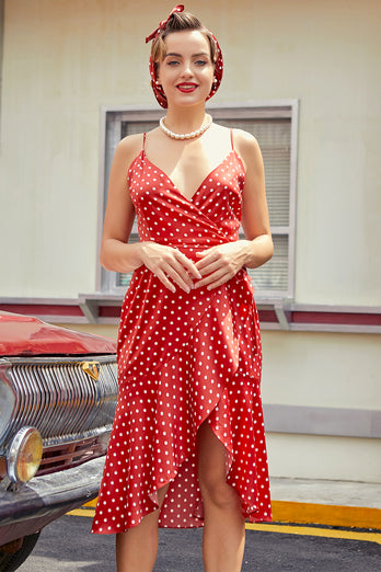 Red White Polka Dots Asymmetrical Dress