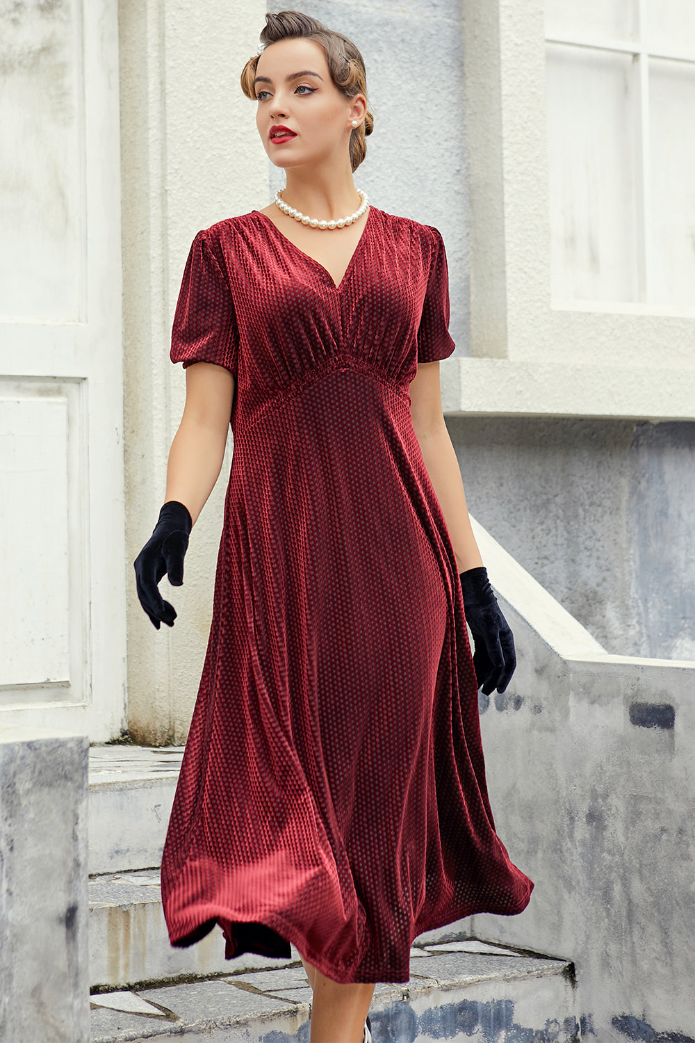 Burgundy Velvet Midi Party Dress