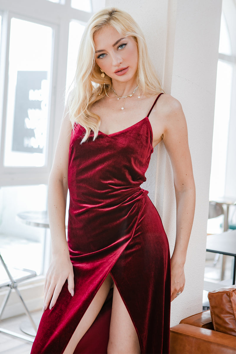 Load image into Gallery viewer, Red Velvet Evening Party Formal Dress