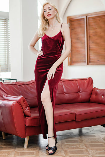 Red Velvet Evening Party Formal Dress