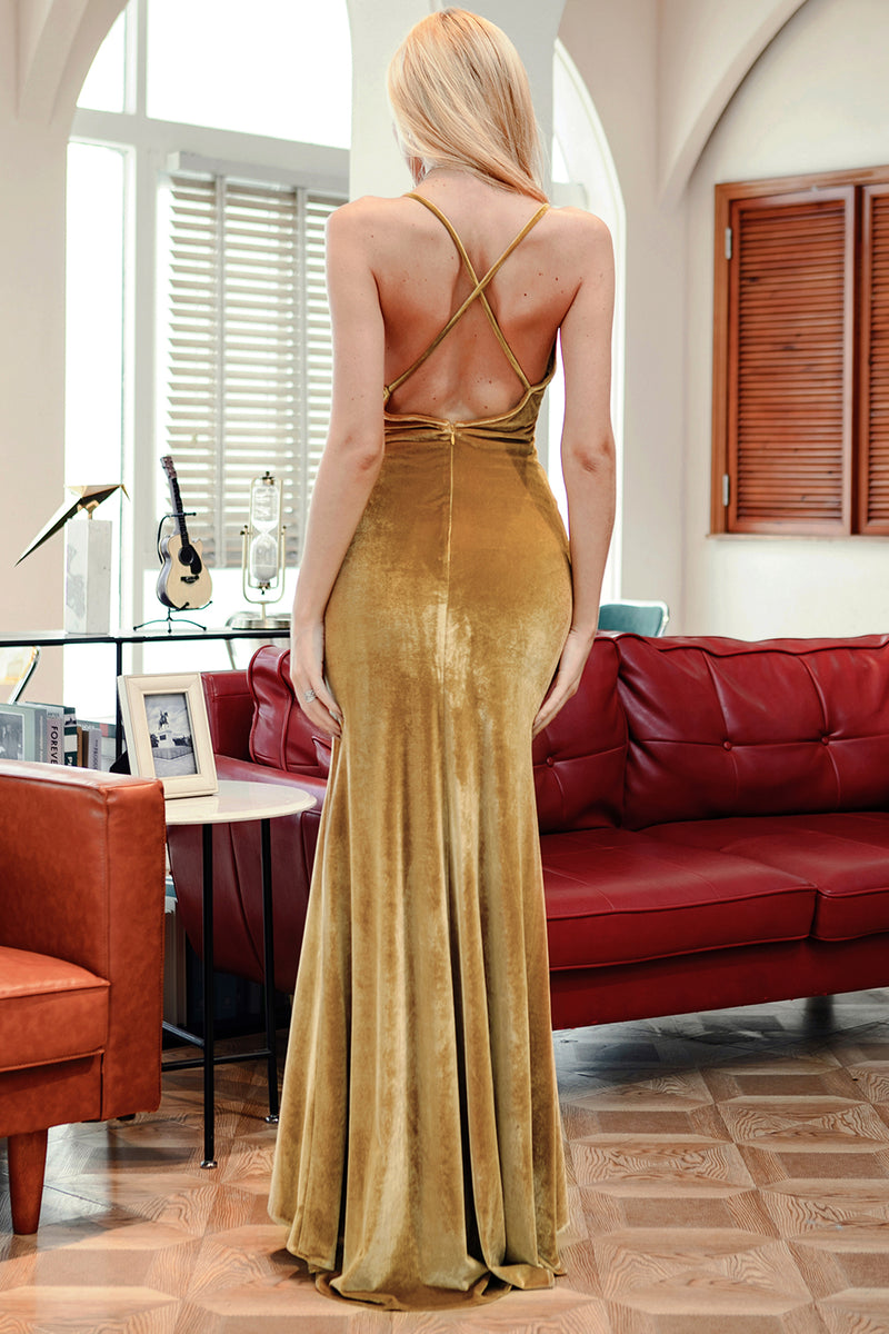 Load image into Gallery viewer, Yellow Velvet Evening Party Dress