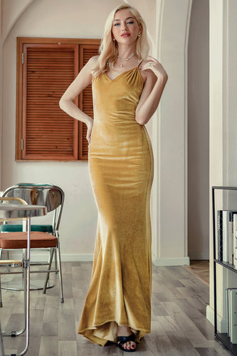 Yellow Velvet Evening Party Dress