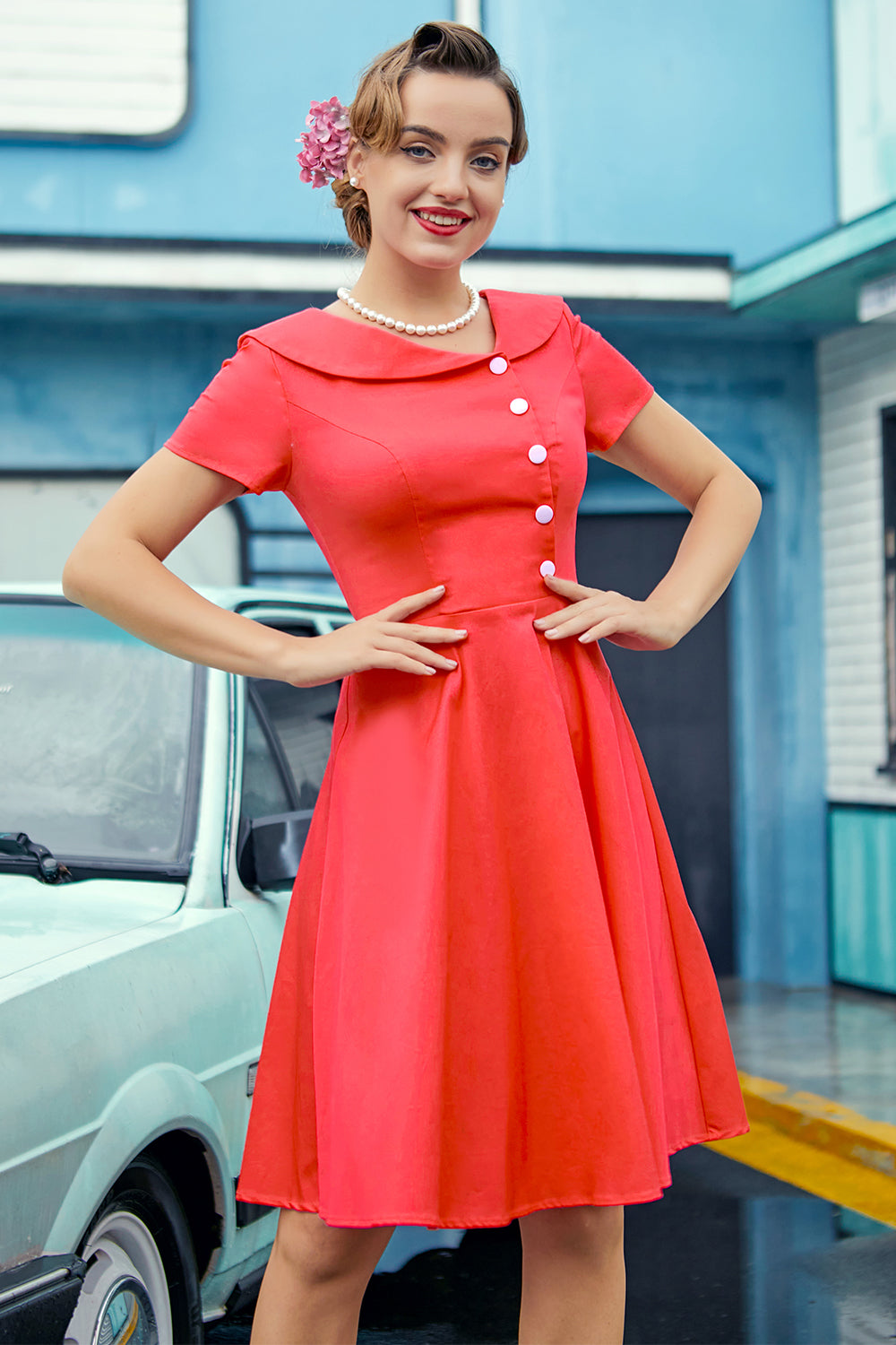 Coral Peter Pans Collar Button Dress