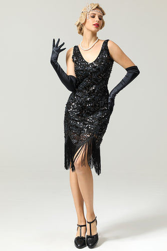 Women Black 1920s Fringe Sequin Flapper Dress