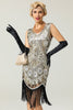 Load image into Gallery viewer, Silver 1920s Fringe Sequins Dress