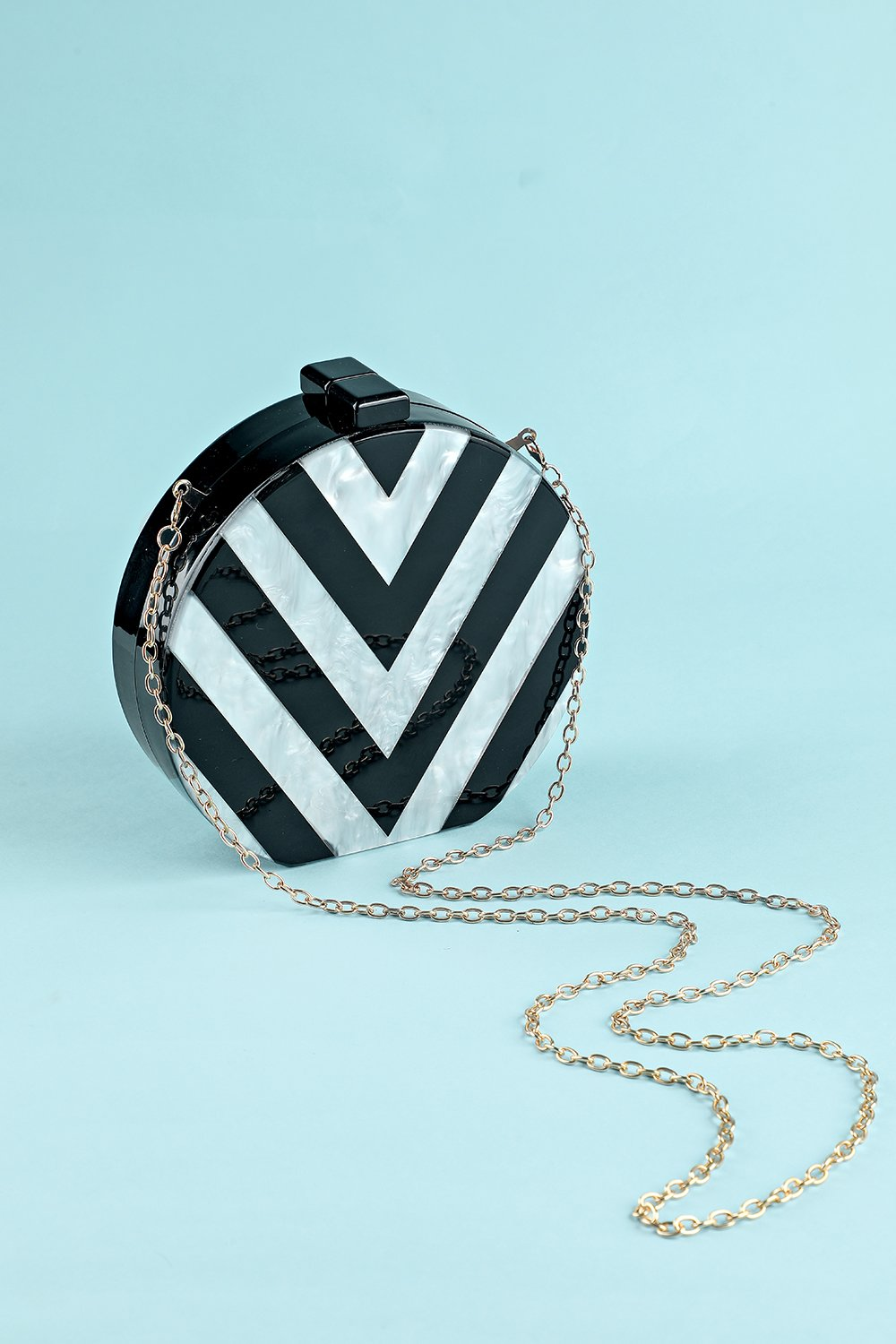 Black and White Striped Acrylic Handbag