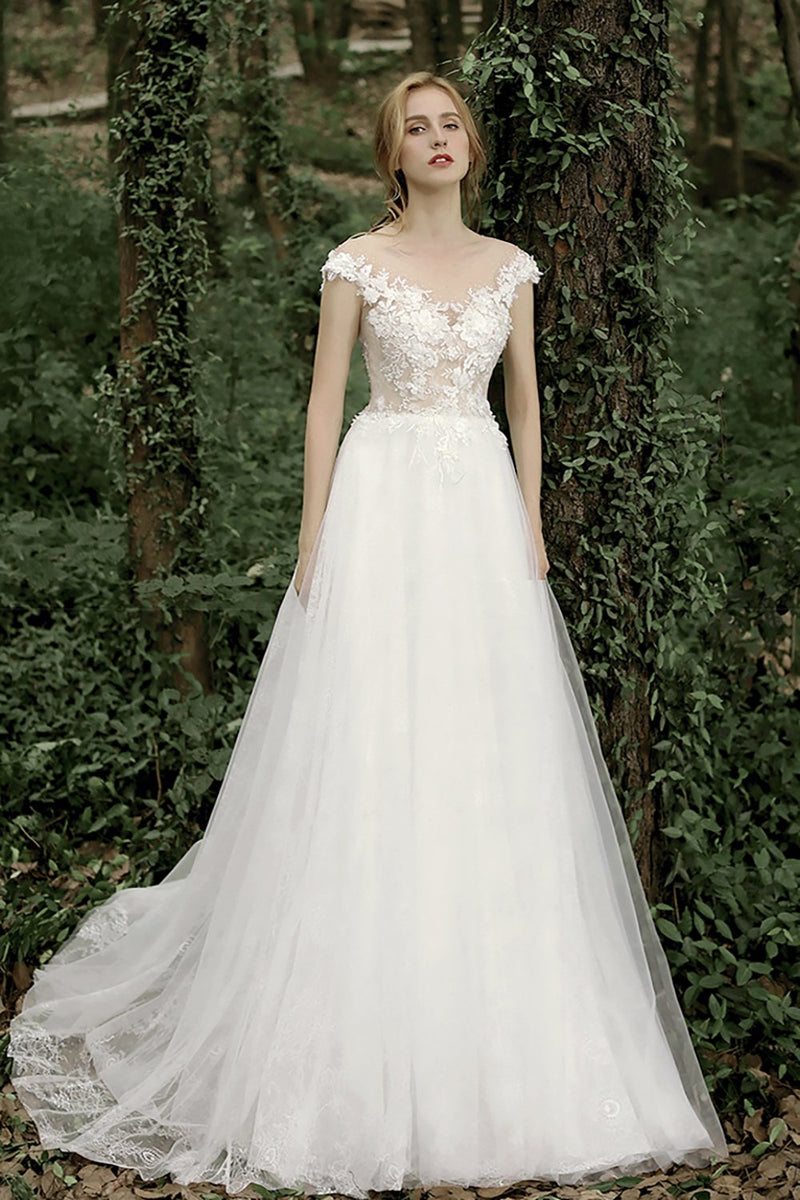 Load image into Gallery viewer, Gorgeous A Line Wedding Dress with Appliques