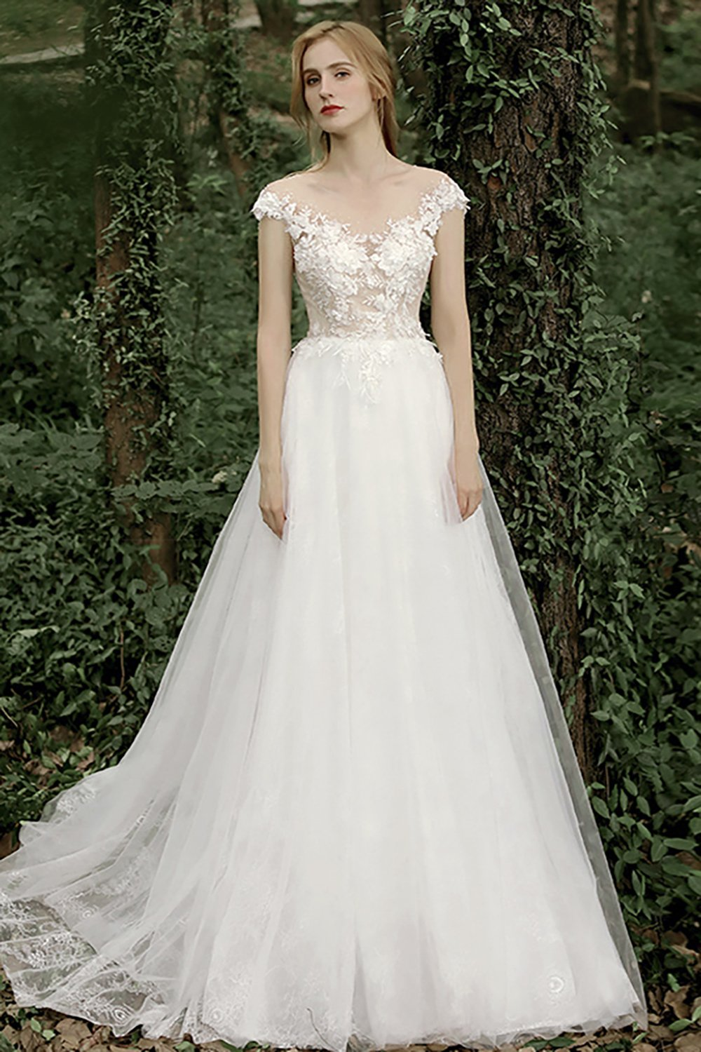 Gorgeous A Line Wedding Dress with Appliques