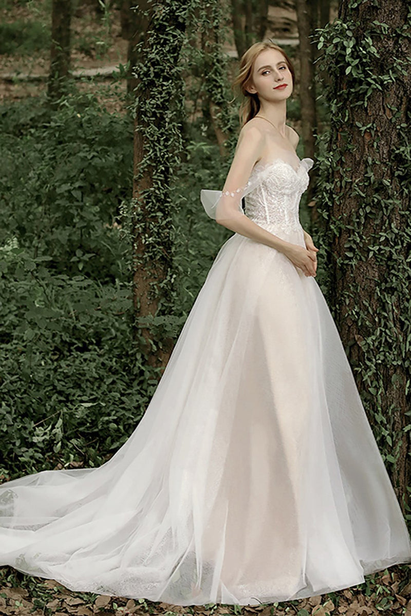 Load image into Gallery viewer, Off the Shoulder Wedding Dress with Appliques Sequins