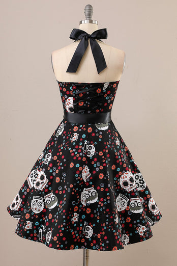 Vintage Skull Printed Halloween Pin Up Dress
